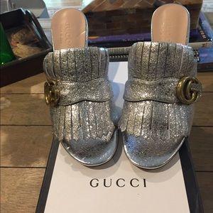 Gucci metallic leather mid heel slide. Brand new.